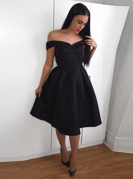 A-line Short Prom Dress,Black Off the Shoulder Homecoming Dress,A-line Satin Cocktail Dress PD00089