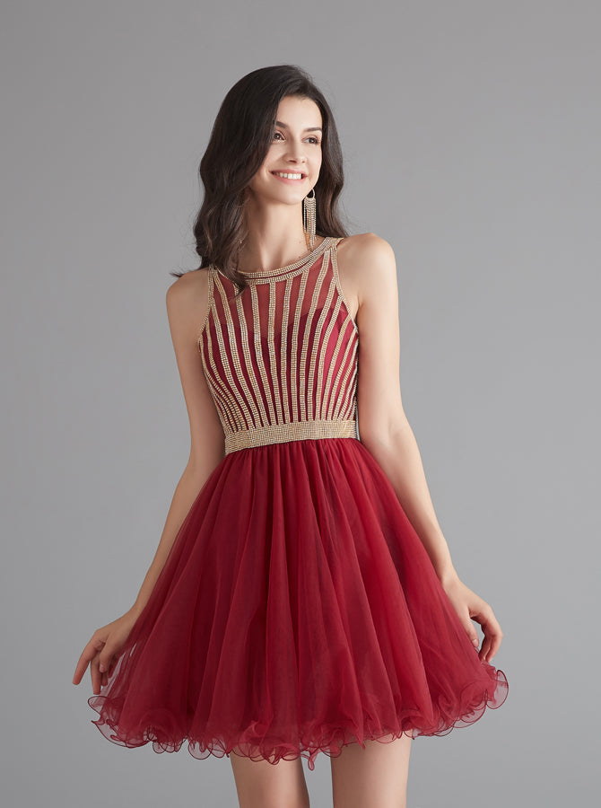 special for shoe top brands amazing selection A-line Tulle Homecoming Dresses for Teens,Graduation Dress Short,HC00198