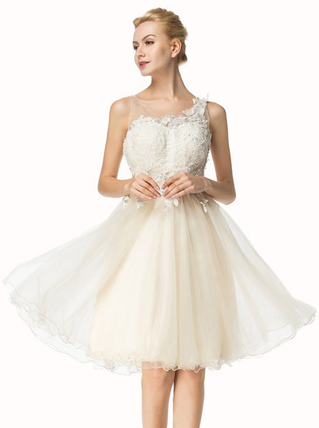 A-line Tulle Homecoming Dresses,White Homecoming Dress,Knee Length Homecoming Dress,HC00020