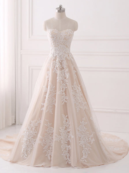 A-line Wedding Dresses,Lace Wedding Dress,Elegant Bridal Gown,Strapless Wedding Gown,WD00063