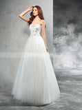 A-line Wedding Dresses,Tulle Wedding Dress,Floor Length Bridal Gown,WD00288
