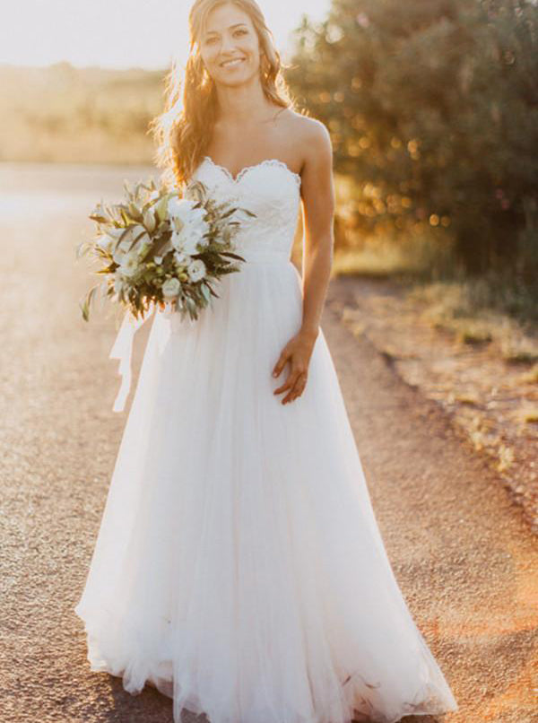 A-line Wedding Dresses,Tulle Wedding Dress,Strapless