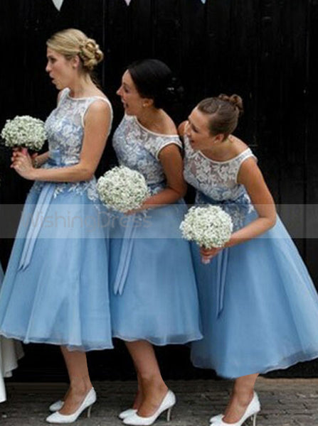 Aline Blue Bridesmaid Dress,Embroidered Bridesmaid Dress,Tea Length Bridesmaid Dress,BD00121
