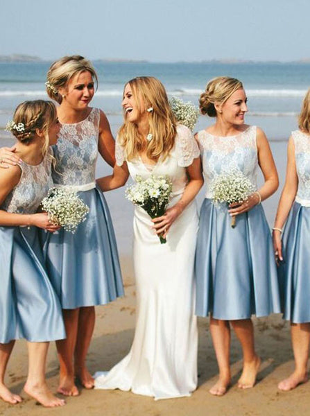Aline Bridesmaid Dress,Knee Length Bridesmaid Dress,Satin Blue Bridesmaid Dress,BD00055