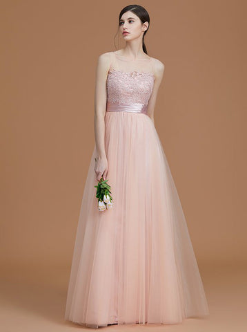 Aline Long Bridesmaid Dress,Tulle See Through Bridesmaid Dress,Elegant Bridesmaid Dress,BD00142