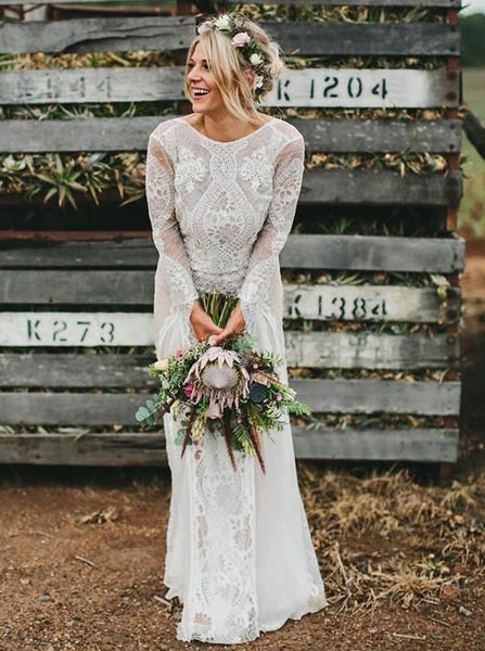 Backless Wedding Dresses,Lace Wedding Dress,Wedding Dress with Sleeves,Rustic Bridal Dress,WD00177