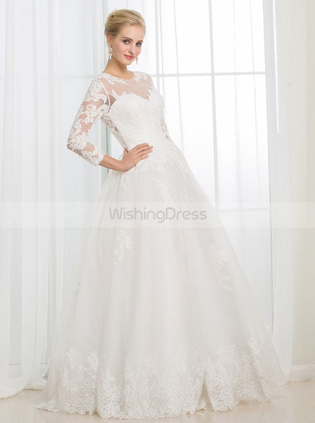 Ball Gown Wedding Dress with Sleeves,Lace Wedding Gown,Floor Length Wedding Dress,WD00020