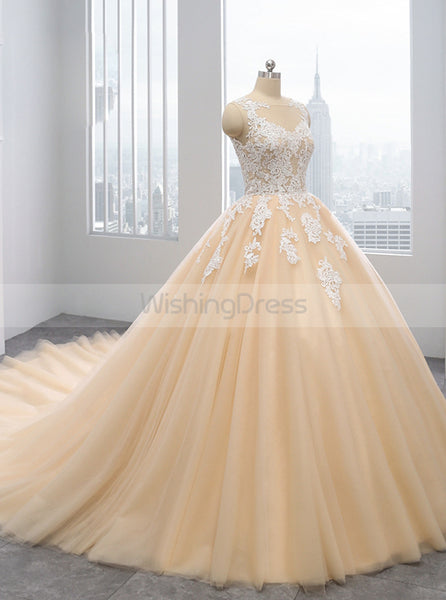 Ball Gown Wedding Dresses,Colored Wedding Dress,Tulle Ball Gown Wedding Dresses,WD00291