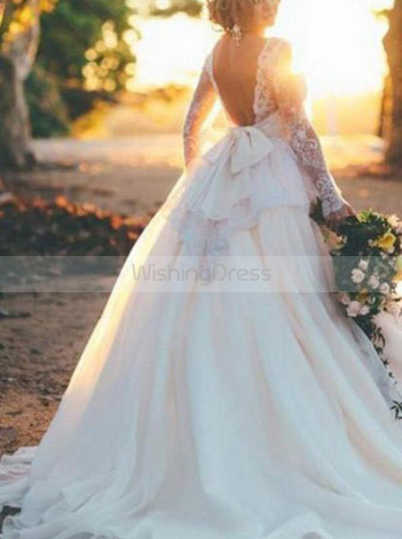 Ball Gown Wedding Dress with Sleeves,Romantic Wedding Dress,Backless Wedding Dress,WD00215