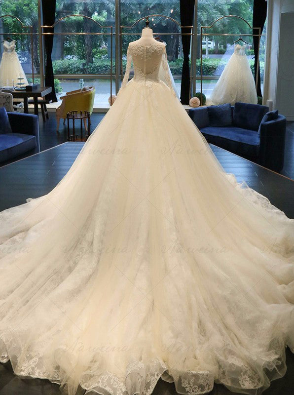 576ad650ba53 Ball Gown Wedding Dresses,Wedding Gown with Sleeves,Cathedral Train Wedding  Dress,WD00065