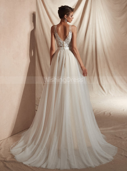 Beach Wedding Dress with Sweep Train,Simple Wedding Dress,WD00359
