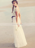 Beach Wedding Dresses,Boho Wedding Dress,Long Bridal Dress,Short Sleeves Bridal Dress,WD00240