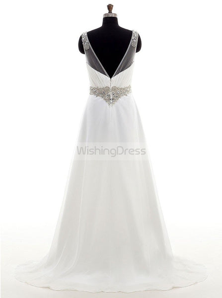 Beach Wedding Dresses,Chiffon Wedding Dress,Summer Wedding Dress,Vneck Bridal Dress,WD00230