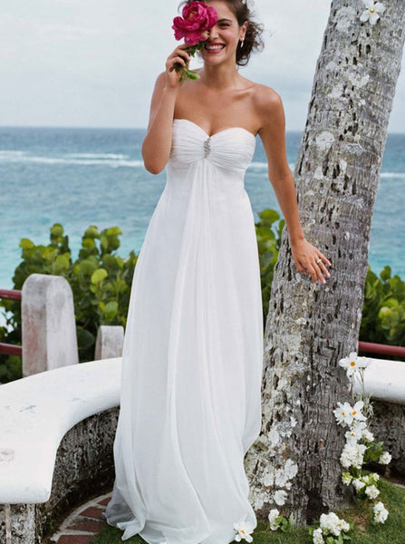 Beach Wedding Dresses,Empire Waist Wedding Dress,Destination Wedding Dress,WD00262