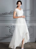Beach Wedding Dresses,High Low Wedding Dress,Wedding Dress with Sleeves,WD00293