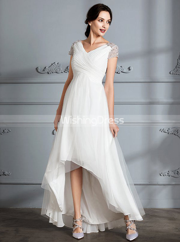 Beach Wedding Dresses High Low Wedding Dress Wedding Dress With Sleeves Wd00293