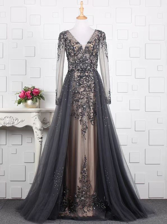 919e9fb20ec68 Beaded Prom Dress with Illusion Sleeves,Fitted Prom Dress with  Overskirt,PD00380