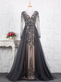 Beaded Prom Dress with Illusion Sleeves,Fitted Prom Dress with Overskirt,PD00380