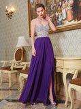 Beaded Prom Dresses,Strapless Prom Dress with Slit,Long Prom Dress,PD00335