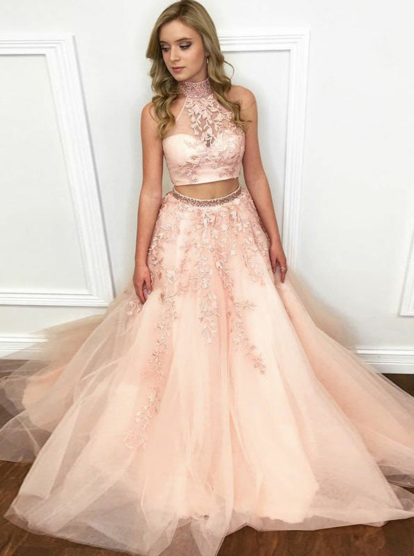 420956c339c56 Beautiful Two Piece Prom Gown with Floral,Tulle Princess Prom Dress,Girl  Graduation Dress PD00146