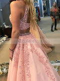 Beautiful Two Piece Prom Gown with Floral,Tulle Princess Prom Dress,Girl Graduation Dress PD00146