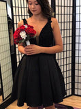 Black A-line Homecoming Dresses,Satin V-neck Cocktail Dress,HC00170