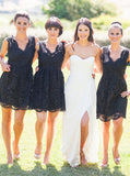 Black Bridesmaid Dress,Short Lace Bridesmaid Dress,V neck Bridesmaid Dress,BD00173
