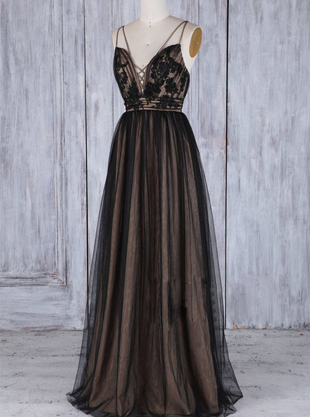 Black Bridesmaid Dress,Tulle Long Bridesmaid Dress,Lace Up Bridesmaid Dress,BD00199