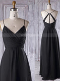 Black Bridesmaid Dresses,Ruched Bridesmaid Dresses,BD00366