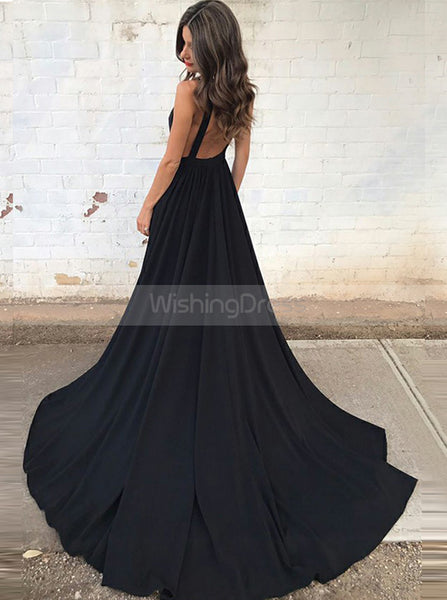 Black Chiffon Evening Dress with Train,Backless Prom Dress,Evening Dress with Pockets PD00065