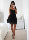 Black Cocktail Dresses,Lace Cocktail Dress,Sexy Cocktail Dress,Lace Up Cocktail Dress,CD00042