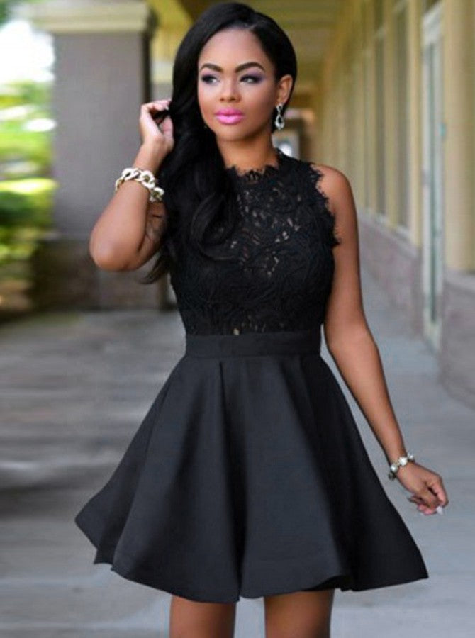 Black Cocktail Dresses,Short Homecoming Dresses,Aline Cocktail Dress,L - Wishingdress