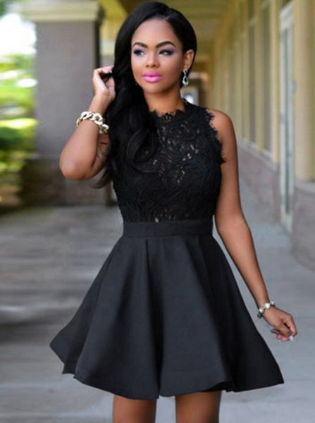 Black Cocktail Dresses,Short Homecoming Dresses,Aline Cocktail Dress,Lace Cocktail Dress,CD00011