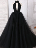 Black Halter Prom Dress,Tulle Prom Ball Gown,Vogue Evening Dress PD00081