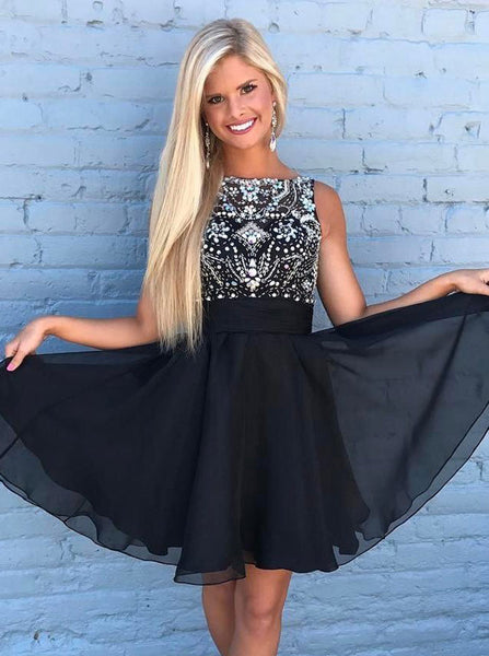 Black Homecoming Dress,Short Homecoming Dress,Summer Homecoming Dresses,HC00100