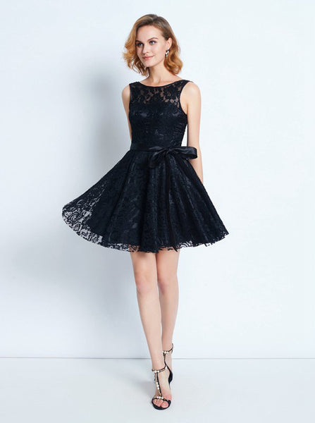 Black Homecoming Dress with Sash,Lace Cocktail Dress,Short Party Dress,HC00153