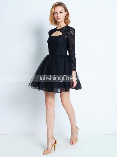 Black Homecoming Dress with Sleeves,Short Homecoming Dress,HC00169