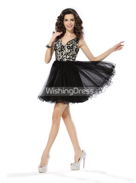 Black Homecoming Dresses,A-line Tulle Homecoming Dress,HC00174