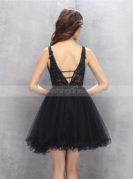 Black Homecoming Dresses,Beaded Homecoming Dress,Tulle Homecoming Dress,HC00121