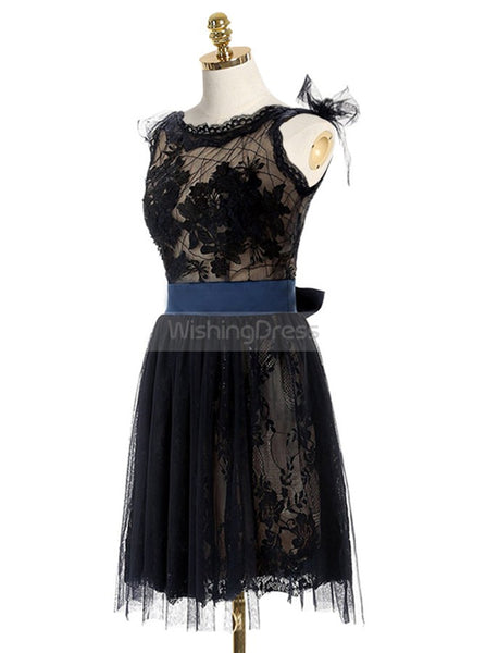 Black Homecoming Dresses,Lace Homecoming Dress,Backless Homecoming Dress,HC00022