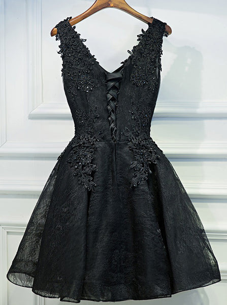Black Homecoming Dresses,Lace Homecoming Dress,Little Black Dresses,Short Homecoming Dress,HC00030
