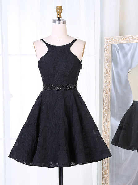 Black Lace Cocktail Dress,Open Back Cocktail Dresses,Sexy Homecoming Dress,CD00004