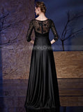 Black Mother Dresses with Sleeves,Satin Beaded Mother of the Bride Dress,MD00069