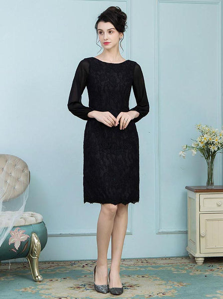 Black Mother of the Bride Dress,Mother Dress with Long Sleeves,Knee Length Mother Dress,MD00008