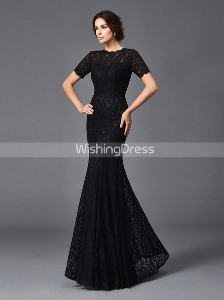 Black Mother of the Bride Dresses,Lace Mother Dress,Mermaid Mother Dress,MD00044
