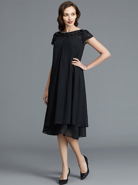 Black Mother of the Bride Dresses,Short Mother Dress with Sleeves,MD00050