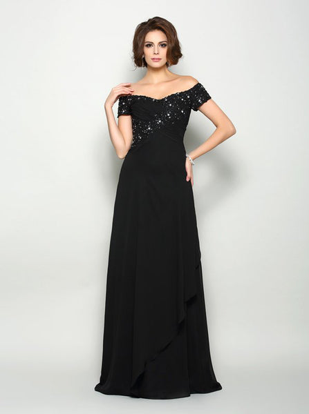 Black Off the Shoulder Mother of the Bride Dress with Sleeves,MD00053