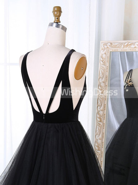 Black Prom Dresses,A-line Tulle Prom Dress,Backless Prom Dress,PD00341