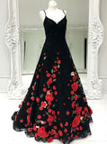 Black Prom Dresses,Lace Prom Dress,Floral Prom Dress,Princess Prom Dress,PD00231