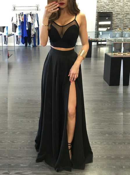 Black Prom Dresses,Two Piece Prom Dress,Sexy Prom Dress,Long Prom Dress,PD00224